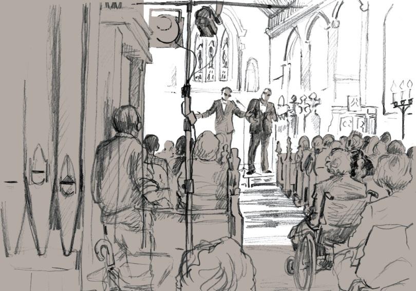 Opera Dudes performing at Freckenham, drawing by Rosie Redzia from 'A Wider Horizon'